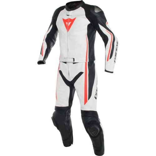 ΦΟΡΜΑ ΔΕΡΜΑΤΙΝΗ DAINESE ASSEN 2 PCS SUIT (white/black/fluo-red)