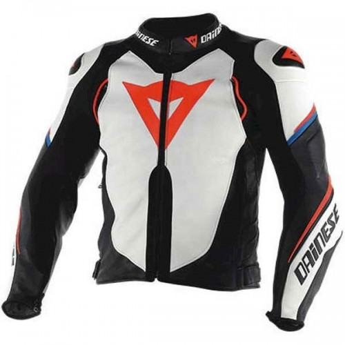 ΜΠΟΥΦΑΝ DAINESE SUPER SPEED D1 LEATHER JACKET(White/Black/Fluo-Red)