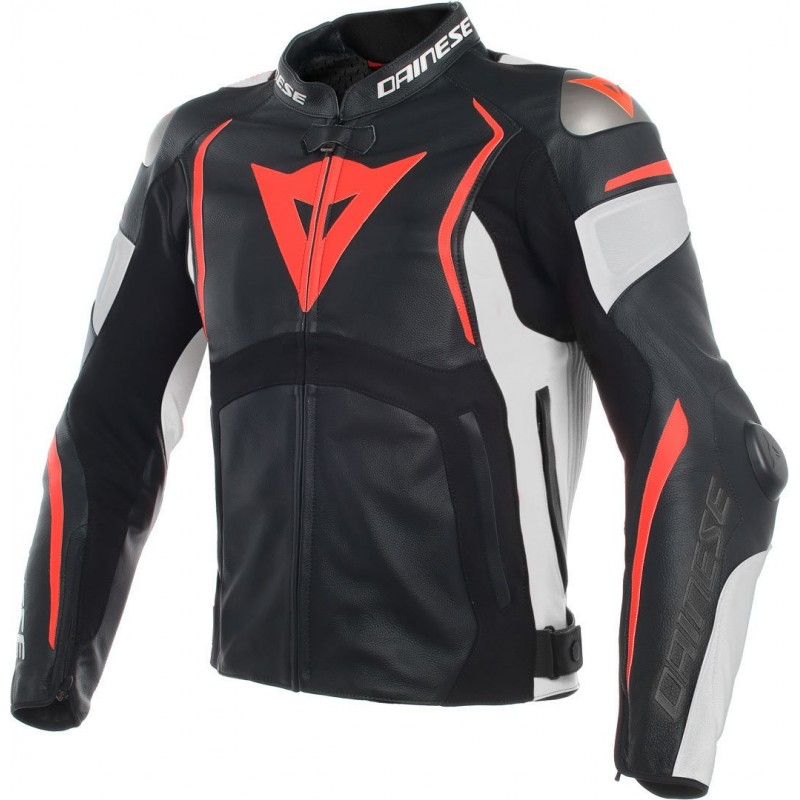 ΜΠΟΥΦΑΝ DAINESE MUGELLO PERF.LEATHER JACKET (black/white/gluo-red)
