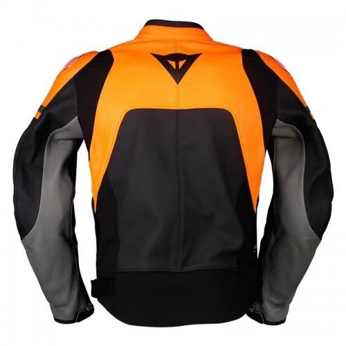 ΜΠΟΥΦΑΝ DAINESE AGILE LEATHER JACKET (Black-Matt/Orange/Charcoal-Gray)