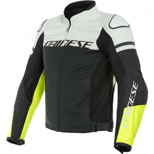 ΜΠΟΥΦΑΝ DAINESE AGILE LEATHER JACKET (Black-Matt/White/Fluo-Yellow)
