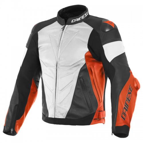 ΜΠΟΥΦΑΝ DAINESE SUPER RACE LEATHER JACKET (White/Fluo-Red/Black-Matt)