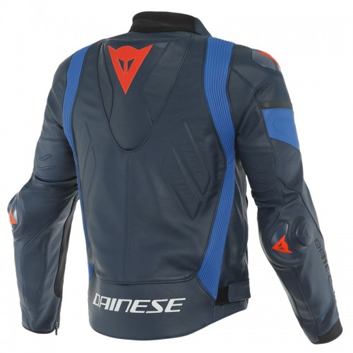 ΜΠΟΥΦΑΝ DAINESE SUPER RACE LEATHER JACKET (Black-Iris/Light-Blue/Fluo-Red)