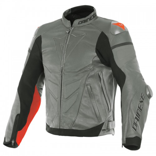 ΜΠΟΥΦΑΝ DAINESE SUPER RACE LEATHER JACKET (Charcoal-Gray/Ch.-Gray/Fluo-Red)