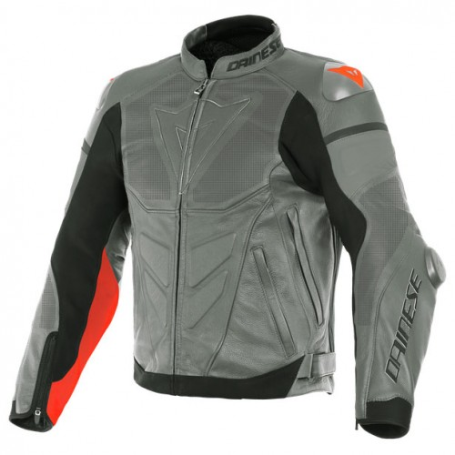 ΜΠΟΥΦΑΝ DAINESE SUPER RACE PERF. LEATHER JACKET (White/Fluo-Red/Black-Matt)